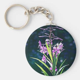 Purple Blooms Basic Round Button Key Ring