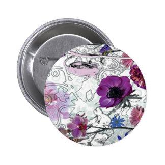 Purple Blooms Floral Button