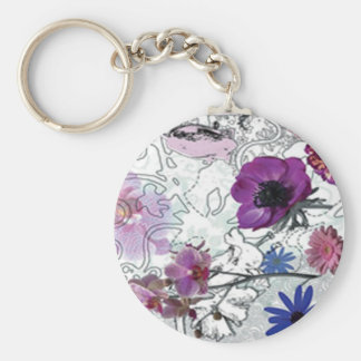 Purple Blooms Floral Key Chain