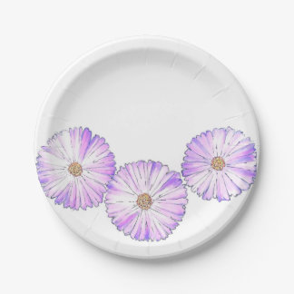 Purple Blooms Paper Plate