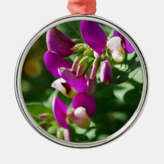 Purple Blooms Silver-Colored Round Decoration