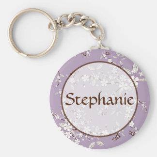 Purple Blossom Customizable Name Button Keychain