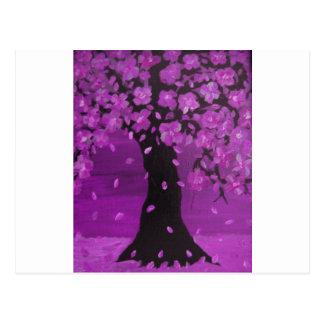 Purple Blossom Tree Design Art Postcard