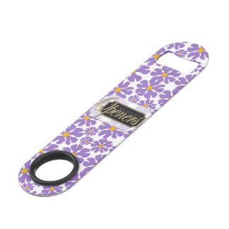 Purple Blossoms White Bottle Opener
