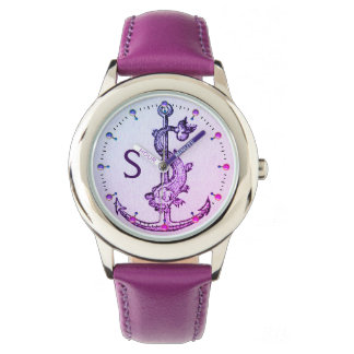 PURPLE BLUE ANCHOR WITH FISH NAUTICAL MONOGRAM WATCH