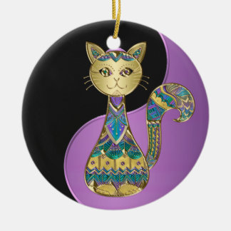 Purple Blue and Gold Yin-Yang Cat Holiday Ornament