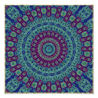 Purple, Blue and Green Mandala Art Photo