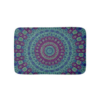 Purple, Blue and Green Mandala Bath Mat