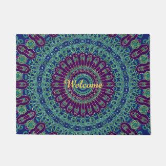 Purple, Blue and Green Mandala Doormat