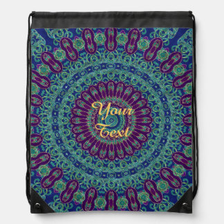 Purple, Blue and Green Mandala Drawstring Backpacks