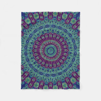 Purple, Blue and Green Mandala Fleece Blanket