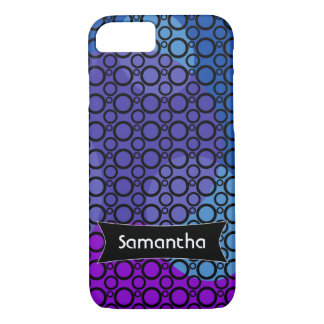 Purple, Blue and Pink Curves Under Black Circles 2 iPhone 8/7 Case
