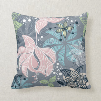 Purple Blue And Pink Retro Pattern Flowers Cushion