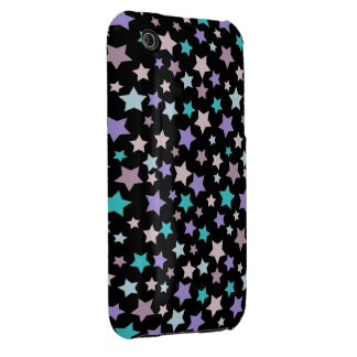 Purple Blue and Pink stars pattern on black iPhone 3 Cases