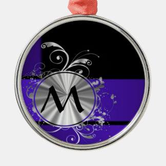 Purple blue and silver monogram christmas ornament