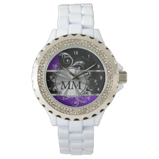 Purple blue and silver monogram on black watch