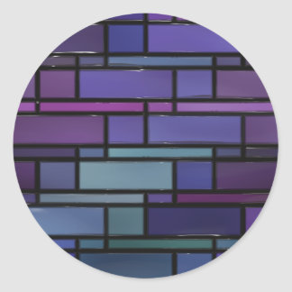 Purple, Blue, and Teal Stained Glass Window Round Sticker
