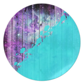 Purple, Blue,and Teal Wood Planks & Paint Splatter Plate