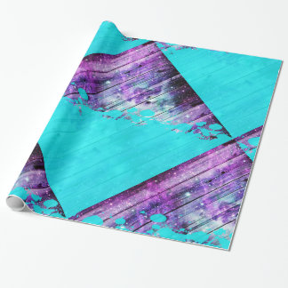 Purple, Blue,and Teal Wood Planks & Paint Splatter Wrapping Paper