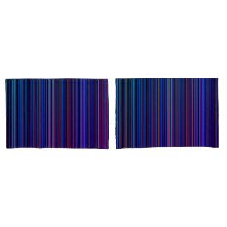 Purple blue aqua retro stripe pillow case