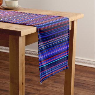 Purple blue aqua  retro  stripe table runner