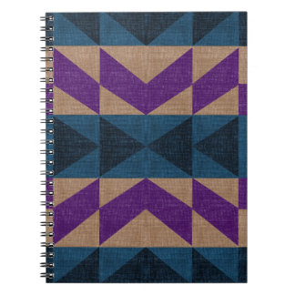 Purple Blue Aztec Pattern Spiral Notebook