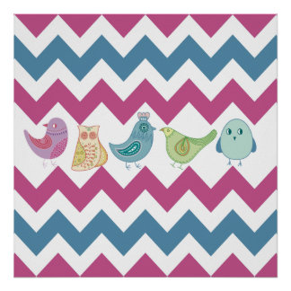 Purple Blue Chevron Stripes Whimsical Birds Owl Posters