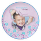 Purple & blue cute butterfly photo frame for kids plate