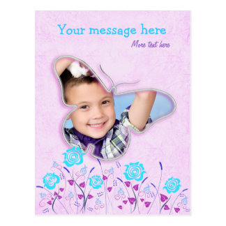 Purple & blue cute butterfly photo frame for kids postcard