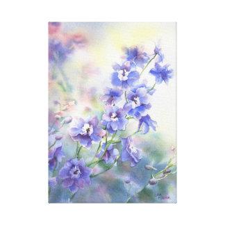 Purple Blue Delphinium Floral Print on Canvas