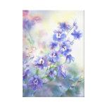 Purple Blue Delphinium Floral Print on Canvas Gallery Wrapped Canvas
