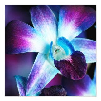 Purple & Blue Dendrobium Orchid Customized Orchids 13 Cm X 13 Cm Square Invitation Card