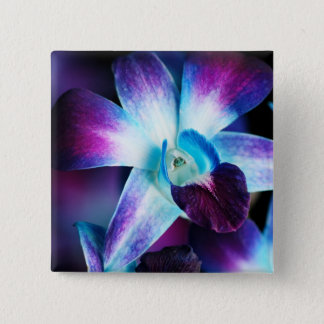 Purple & Blue Dendrobium Orchid Customized Orchids 15 Cm Square Badge
