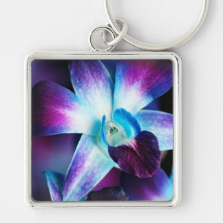 Purple & Blue Dendrobium Orchid Customized Orchids Silver-Colored Square Key Ring