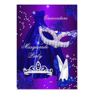 Purple & Blue Dress masquerade Quinceanera Invite