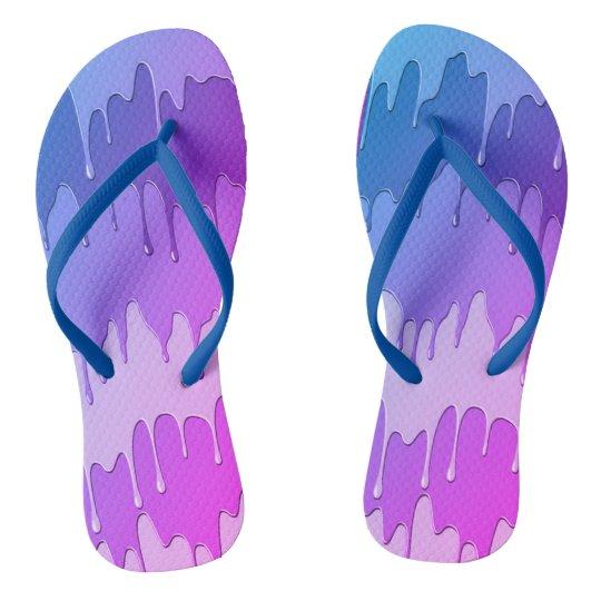 purple blue dripping paint unisex flip flop