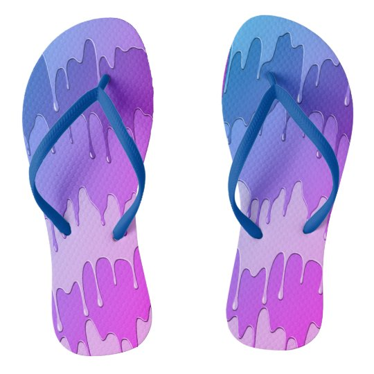 purple blue dripping paint unisex flip flop flip flops