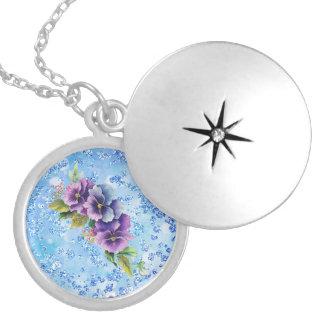 Purple & Blue Floral Blue Bokeh Bling Round Locket Necklace