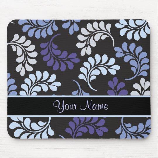 Purple Blue Floral Monogram Pattern Mouse Mat