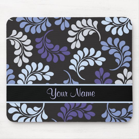 Purple Blue Floral Monogram Pattern Mouse Pad