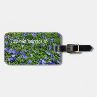 Purple Blue Flower Personalised Luggage Tag