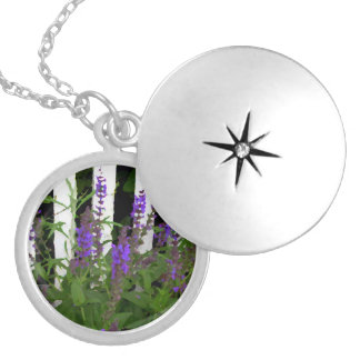 Purple Blue Flowers Fence Round Locket Necklace