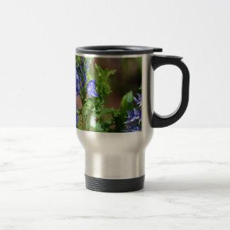 Purple-blue flowers with bee stainless steel travel mug