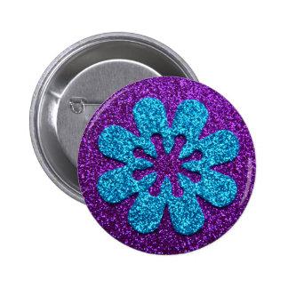 Purple & Blue Glitter Retro Flower 6 Cm Round Badge