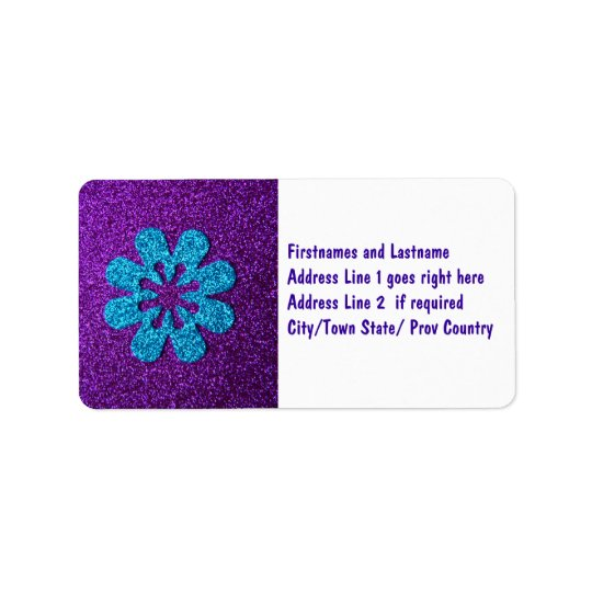 Purple & Blue Glitter Retro Flower Address Label