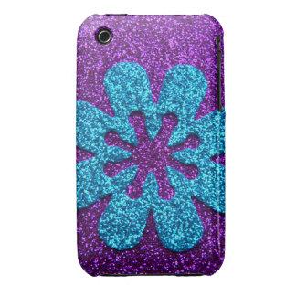 Purple & Blue Glitter Retro Flower iPhone 3 Cases