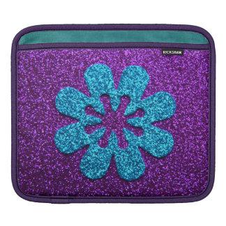 Purple & Blue Glitter Retro Flower iPad Sleeve