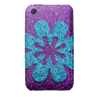 Purple & Blue Glitter Retro Flower iPhone 3 Case
