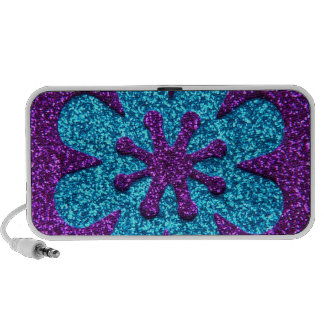 Purple & Blue Glitter Retro Flower Laptop Speaker