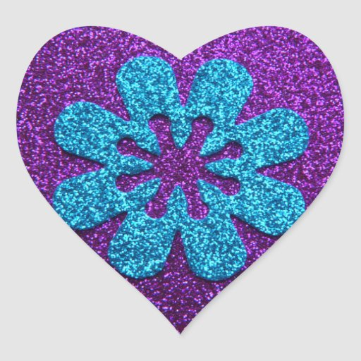 Purple & Blue Glitter Retro Flower Sticker